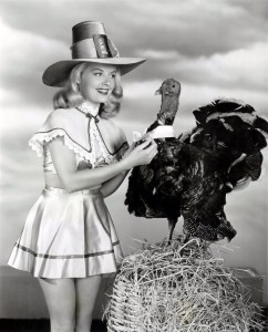 black and white thanksgiving pinup girl
